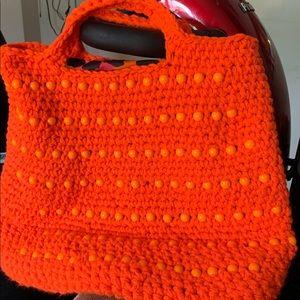 Tote crochet beaded handbag new orange